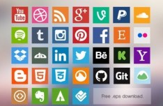 Vector Flat Social Media Icon Set