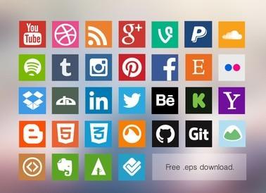 Vector Flat Social Media Icon Set