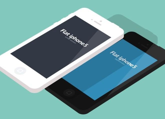 Flat iPhone5 Mockup Template PSD