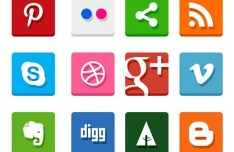20+ Simple Flat Social Icons Pack (PSD & PNG)