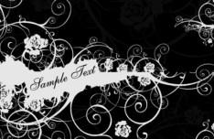 Black and White Vintage Floral & Flower Decorative Pattern 01 Vector