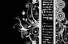 Black and White Vintage Floral & Flower Decorative Pattern 04 Vector