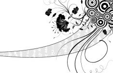 Black and White Vintage Floral & Flower Decorative Pattern 05 Vector