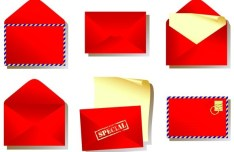 Set Of Vector Red Mails and Envelopes
