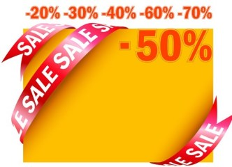 Vector Big Sales & Discounts Frame with Red Ribbon