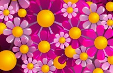 Brightly Colored Flowers Background Vector 04
