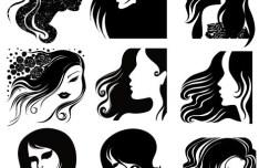Female Head Silhouettes Vector