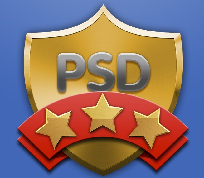 Free Metal Shield and Ribbon Badge PSD - TitanUI