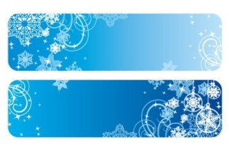 Rounded Winter Snowflake and Floral Banners Vector