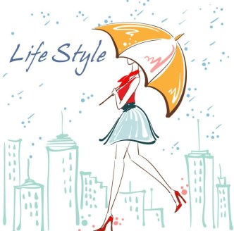 Vector Fashion City Girl Illustration 02