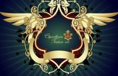 Vector Golden Floral Decorative Pattern 02