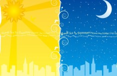 Lovely Day and night Background Vector