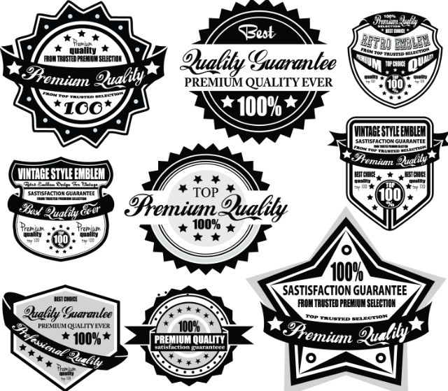 Set Of Vector Black and White Badges with Ribbons 02