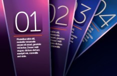 Vector Dark Purple Vertical Banners with Numbers 02