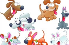 Set Of Vector Cute Cartoon Dogs