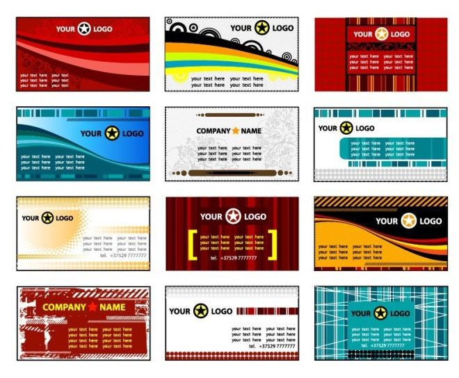 Set Of Vintage Technology Business Card Templates Vector 01