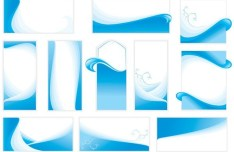 Set Of Vector Banners with Blue Wave Backgrounds
