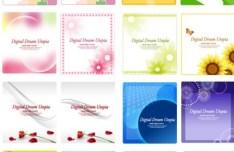 Set Of Vector Clean Floral Frames & Backgrounds