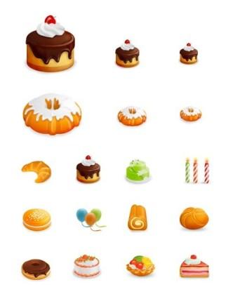Set Of Yummy Cake Icons (EPS Included)