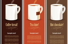 Vector Coffee, Tea and Chocolate Banner-Like Menus