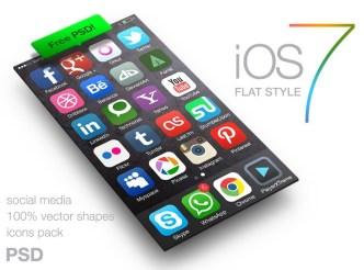 Flat iOS 7 Style Social Media Icons PSD