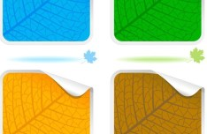 Rounded Paper Like Leaf Stickers Vector