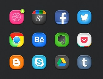 Rounded Social Media Buttons PSD