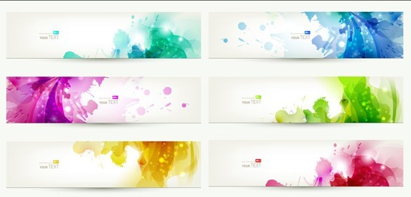 Set Of Clean Banner Template with Colorful Leaf Background Vector 02