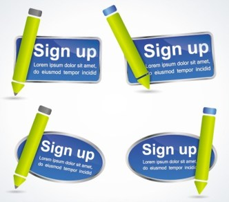Stylish Vector Sign up Buttons & Labels