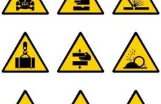 Yellow and Black Warning Signs Vector 01