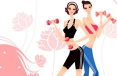 Yoga Girls with Fresh Floral Background Illustration Vector 04