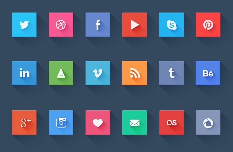 Free Simple Flat Design Social Media Icons Set Psd Titanui