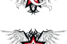 Black Star and Wing Designs Vector 01