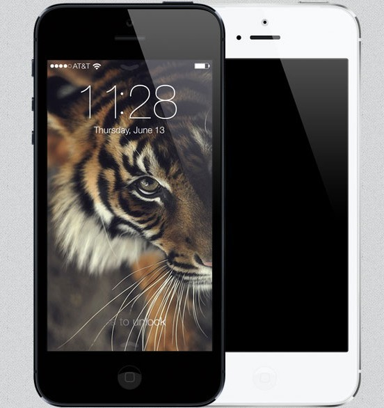 iPhone 5 with iOS 7 Lock Screen