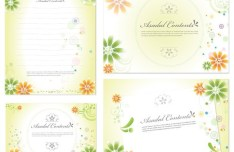 Clean Floral Note Papers Vector