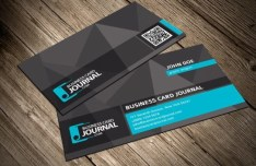 Dark Business Card Template With QR Code PSD