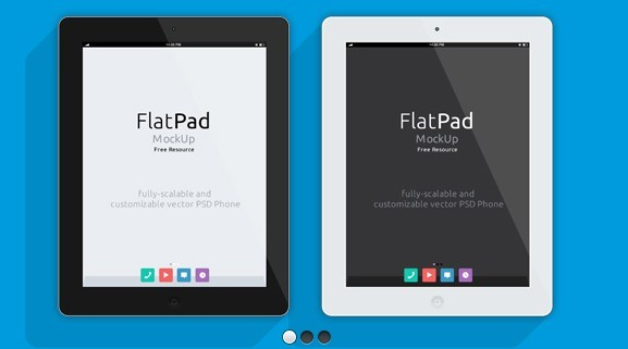 Flat White and Black iPad Mockup PSD