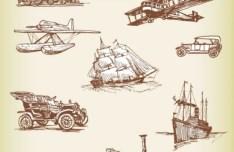 Set Of Vector Vintage Old Transport 01