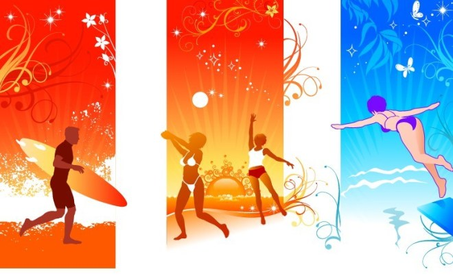 3 Summer Holiday Vectical Banners Vector