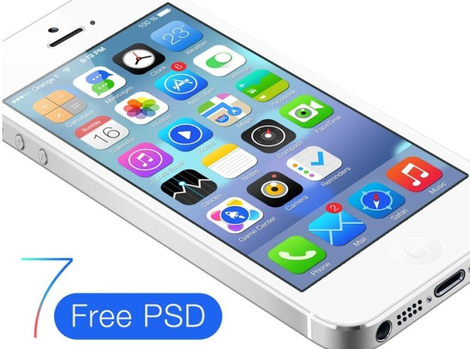 White iPhone 5 With iOS 7 GUI PSD