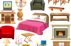 Set Of Vector Furniture Design Elements 04
