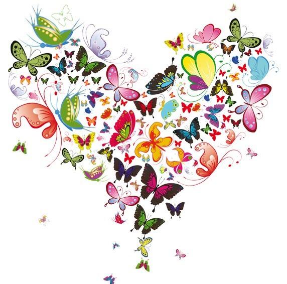 Vector Heart of Butterflies