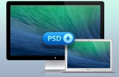Macbook Air & Thunderbolt Display PSD Mockups
