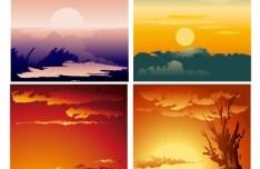 Set Of 4 Vector Sunrise and Sunset Landscape Backgrounds