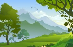 Vector Forest Landscape Illustration 01