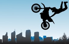 Vector Motorcycle Stunt Riding Illustration