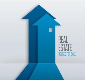 Creative Blue Real Estate Arrow Design Vector