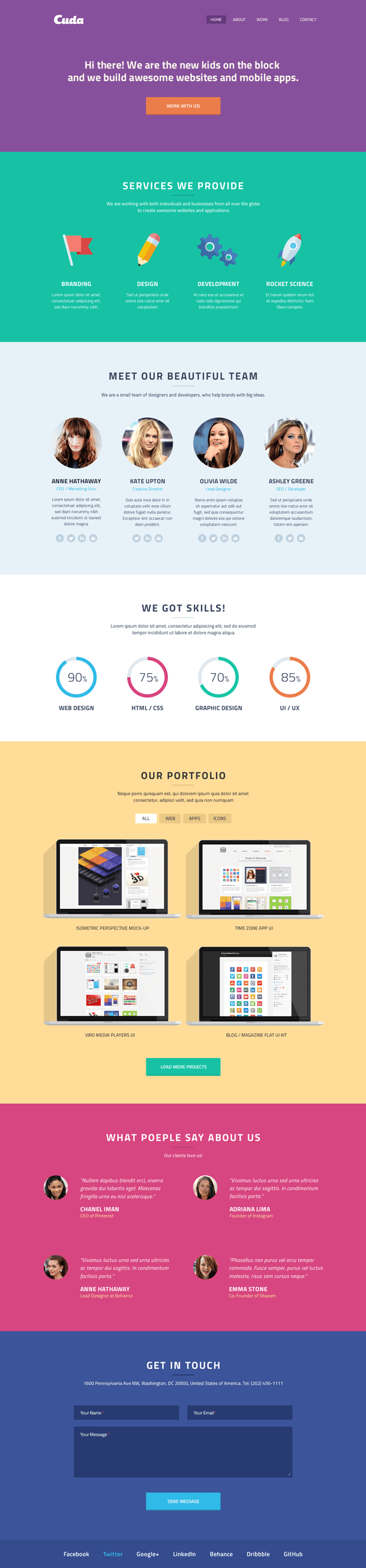 Flat Cuda Single Page Portfolio PSD Template
