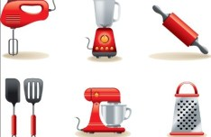 Set Of Red Cooking Supplies Icons Vector