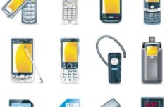 Set Of Vector Old Cell Phone Icons
